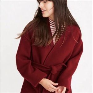 Madewell Belted Wrap Coat in Burgandy Sz S NWT